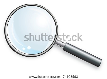 Magnifying glass for scientific research. Laboratory glassware.