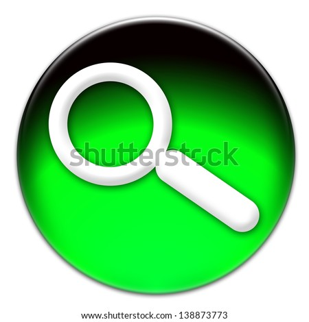 Magnifying glass icon on a green button isolated over white background