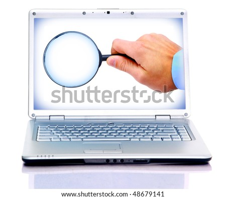 Magnifying glass in hand isolated on white background in laptop