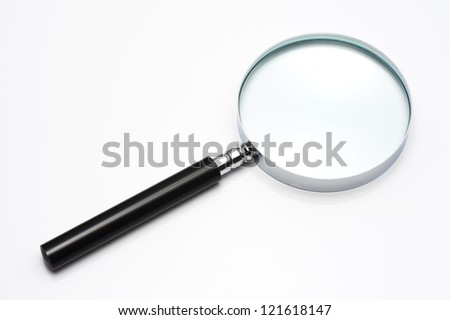 Magnifying glass isolated on white background, close-up