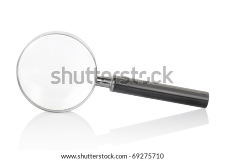 Magnifying glass isolated on white background with shadow reflection, clipping path included