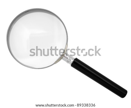 Magnifying glass isolated on white. Clipping path included.