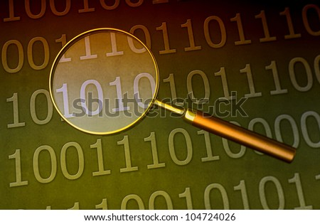 Magnifying glass looking for data - stock photo