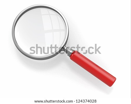 Magnifying glass. Loupe on white background. 3d