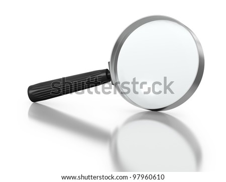 Magnifying Glass on a White Background with Reflection