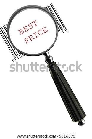 Magnifying glass on barcode and conceptual message - 3d render