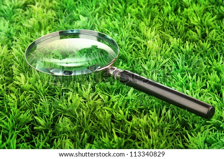 magnifying glass on green grass