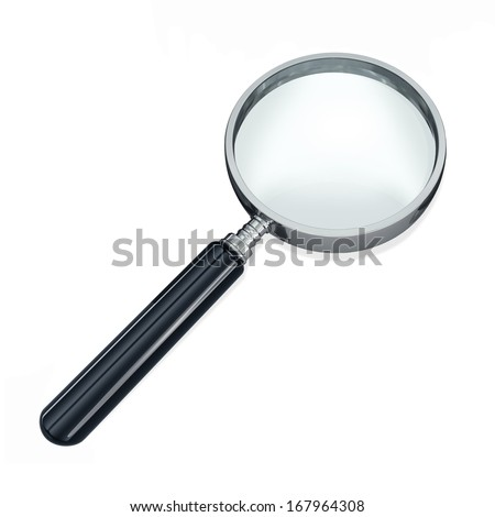 Magnifying glass, or loupe, against a white background.