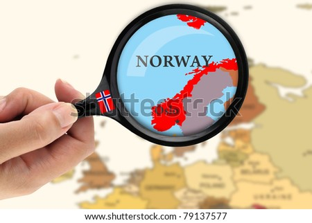 Magnifying glass over a map of Norway