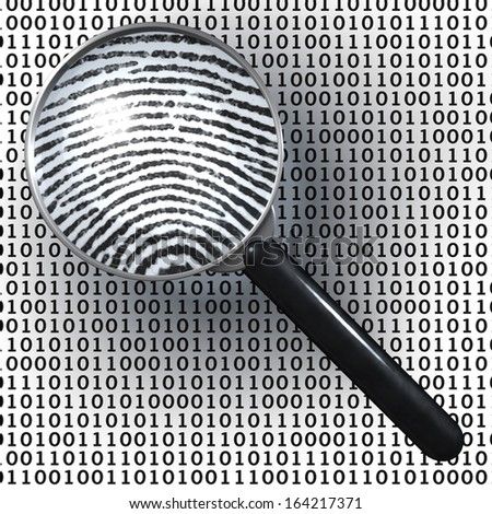 Magnifying glass over background made of binary code, 1 and 0 numbers, showing analog finger print, digital to analog, 3d rendering on 1-0-background