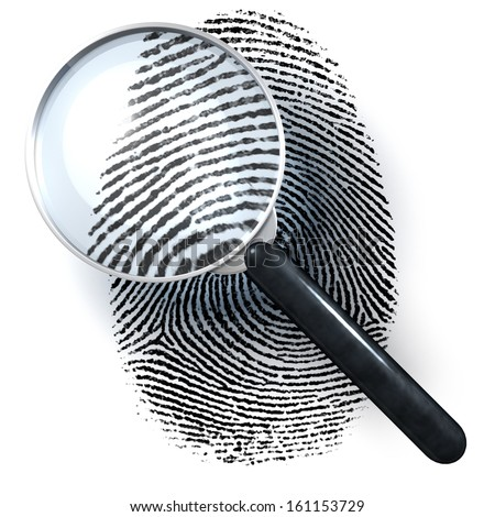 Magnifying glass over finger print, 3d rendering isolated on white background