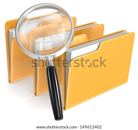 Magnifying Glass over 3 folders. Orange.