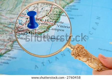 magnifying glass over Rio de Janeiro, Brazil  map with destination tack