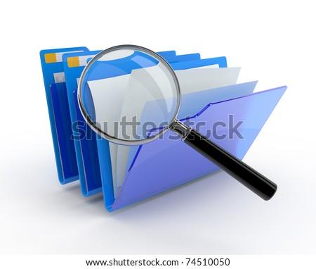 Magnifying glass over the blue folders. 3d illustration.