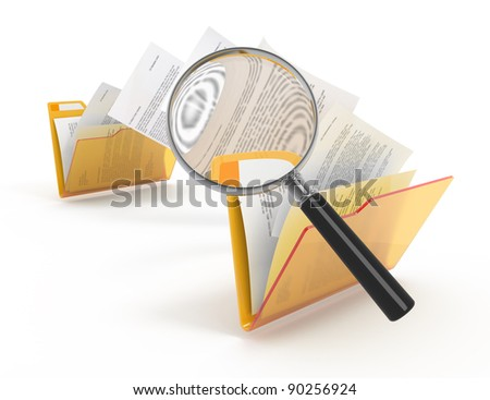 Magnifying glass over the moving documents between folders. 3d illustration.