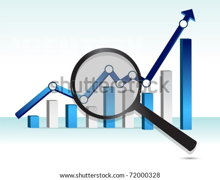magnifying glass over top of blue business graph