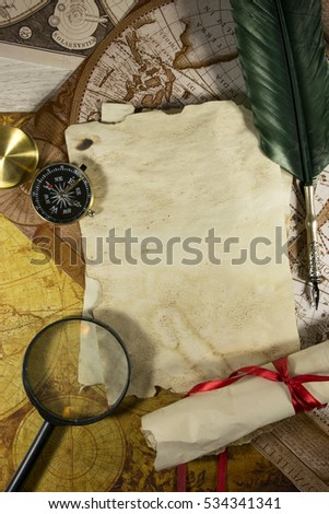 magnifying glass  parchment...