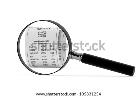 Magnifying glass & Receipt on the white background