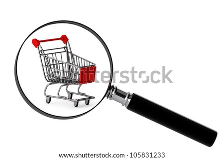 Magnifying glass & shopping trolley on the white background