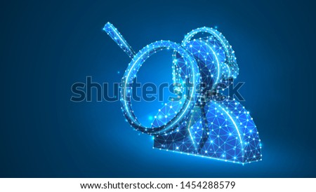 Magnifying glass. Support manager. Consultation analytics, business solution, problem-solution analysis concept. Abstract, digital, wireframe, low poly mesh, Raster blue neon 3d illustration. Line dot