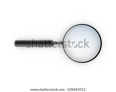 Magnifying glass, top view, isolated on white background.