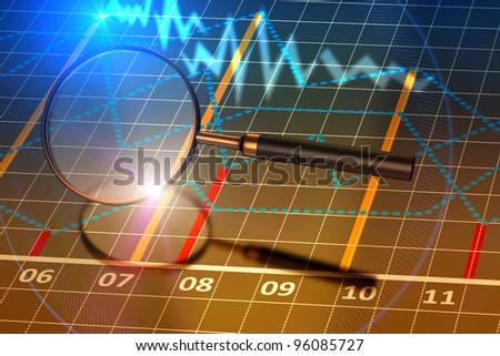 Magnifying glass with a business charts