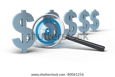 magnifying glass with a focus inside in front of Dollar symbol, image is over a white background, blue tones