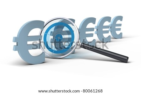 magnifying glass with a focus inside in front of euro symbol, image is over a white background, blue tones