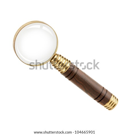 Magnifying glass with a wooden handle on  white background