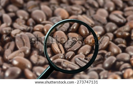 magnifying glass with background of roasted coffee beans, food and drink with business concept