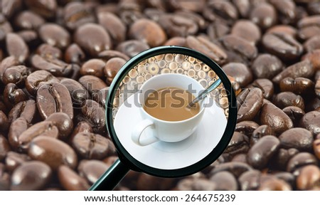 magnifying glass with background of roasted coffee beans to be coffee cup, food and drink with business concept