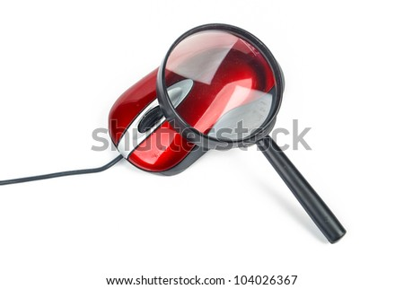 Magnifying glass with computer mouse