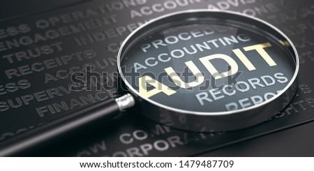 Magnifying glass with focus on the word audit written in golden letters and other accounting words over black background. 3D illustration. Foto stock ©