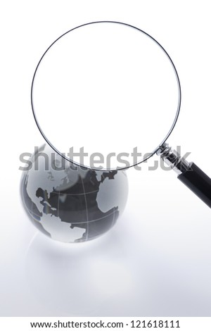 magnifying glass with glass glove on white background