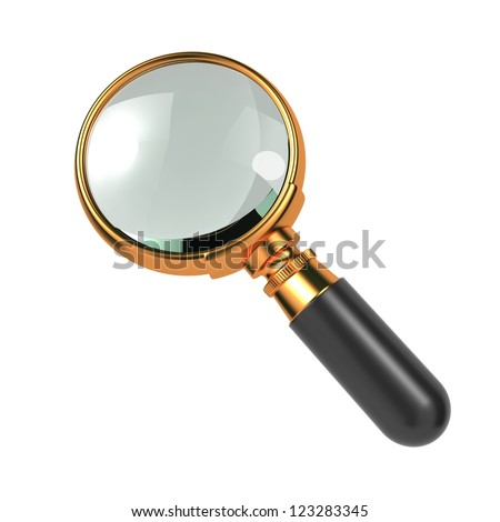 Magnifying Glass with Gold Border, Isolated on White.