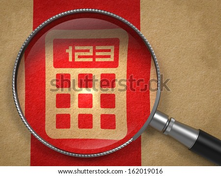 Magnifying Glass with Icon of Calculator on Old Paper with Red Vertical Line Background.