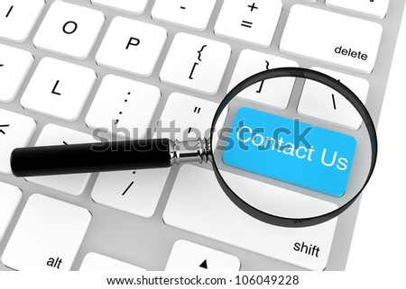 Magnifying glass with keyboard  Contact Us key on a white background