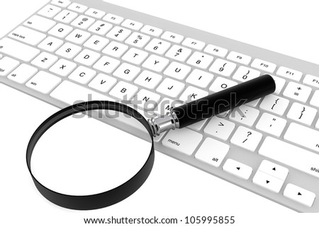 Magnifying glass with keyboard on a white background