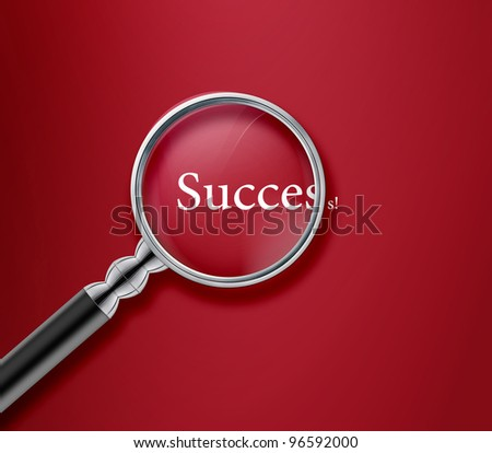Magnifying glass with success word on red background .