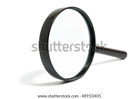Magnifying glass with the black plastic handle on a white background it is isolated