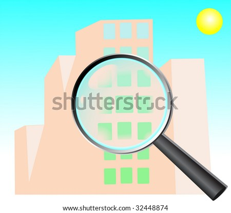 Magnifying glass zoom on a building.  jpeg format. For vector version please see my port