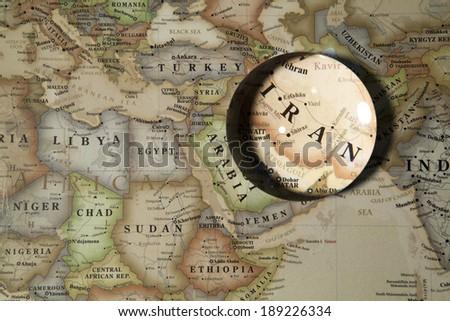 Magnifying Iran on map