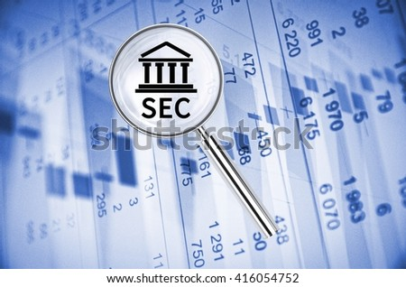 Magnifying lens over background with building icon and text SEC, with the financial data visible in the background. 3D rendering.
