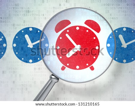 Magnifying optical glass with Alarm Clock icons on digital background, 3d render
