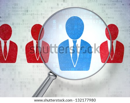 Magnifying optical glass with Business Man icons on digital background, 3d render