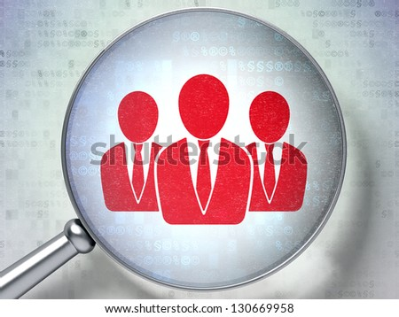 Magnifying optical glass with Business People icon on digital background, 3d render