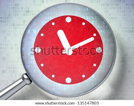 Magnifying optical glass with Clock icon on digital background, 3d render