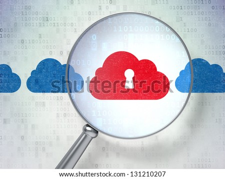 Magnifying optical glass with Cloud Whis Keyhole icons on digital background, 3d render
