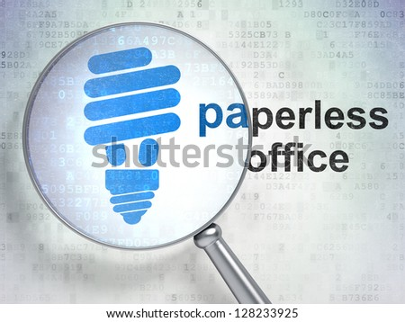 "Magnifying optical glass with Energy Saving Lamp icon and ""Paperless Office"" word on digital background, 3d render"