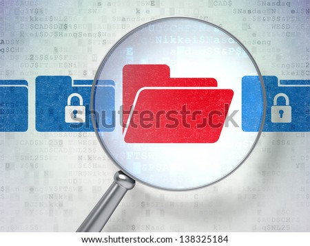 Magnifying optical glass with Folder Whis Padlock icons on digital background, 3d render